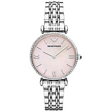 Buy Emporio Armani AR1779 Women's Gianni T-Bar Pink MOP Dial Bracelet Strap Watch, Silver Online at johnlewis.com