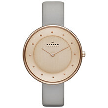 Buy Skagen SKW2139 Women's Klassik Slim Leather Strap Watch, Rose Gold / Grey Online at johnlewis.com