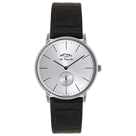 Buy Rotary GS90050/06 Men's Les Originales Kensington Leather Strap, Black Online at johnlewis.com