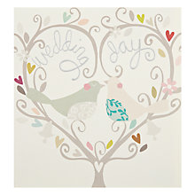 Buy Caroline Gardner Wedding Day Birds and Heart Wreath Greeting Card Online at johnlewis.com