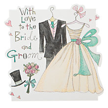 Buy Rachel Ellen Designs Cloud Cuckoo Land - Bride and Groom Wedding Outfits Greeting Card Online at johnlewis.com