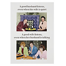 Buy Cath Tate Good Husband and Wives Greeting Card Online at johnlewis.com