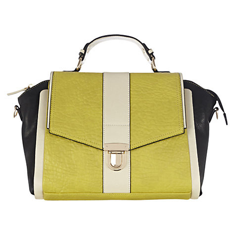 Buy Warehouse Colour Block Satchel Handbag, Lime Online at johnlewis.com