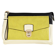 Buy Warehouse Colour Block Wrist Strap Clutch Handbag, Lime Online at johnlewis.com
