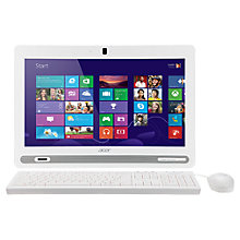 "Buy Acer Aspire ZC602 All In One Desktop PC, Intel Celeron, 4GB RAM, 500GB, 19.5"", White Online at johnlewis.com"