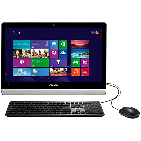 "Buy Asus ET2221 All-in-One Desktop PC, Intel Core i3, 4GB RAM, 1TB, 21.5"" Touch Screen, Black & Silver Online at johnlewis.com"