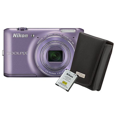 "Buy Nikon Coolpix S6400 Camera, HD 1080p, 16MP, 12x Optical Zoom, 3"" Touch Screen with Black Case & 8GB Card Online at johnlewis.com"