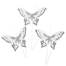 Buy John Lewis Decorative Bead Butterflies, Pack of 3, White Online at johnlewis.com