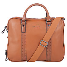 Buy Ted Baker Sandler Leather Document Bag, Tan Online at johnlewis.com