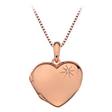 Buy Hot Diamonds Heart Locket Pendant, Rose Gold Online at johnlewis.com