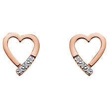 Buy Hot Diamonds Memories Open Heart Stud Earrings, Rose Gold Online at johnlewis.com