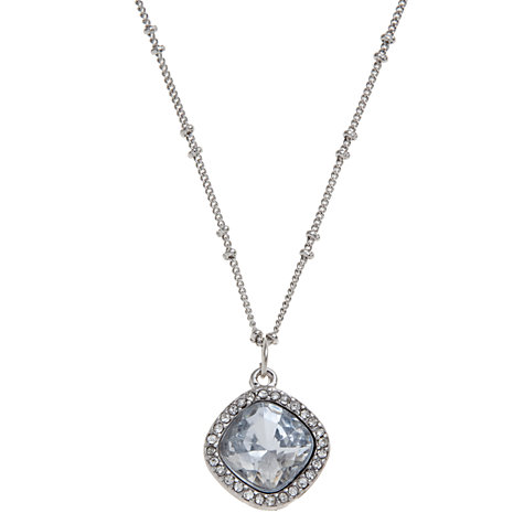 Buy John Lewis Cushion Cut Crystal Diamante Surround Pendant, Silver Online at johnlewis.com