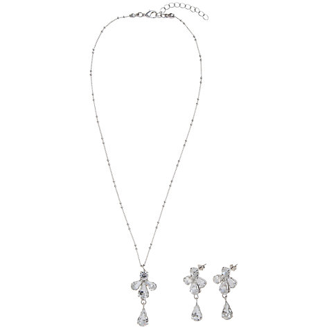 Buy John Lewis Fan Drop Pendant Necklace and Drop Earring Set, Silver Online at johnlewis.com