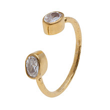 Buy Ottoman Hands 21ct Gold Plated Double Crystal Open Adjustable Ring Online at johnlewis.com