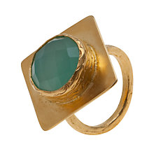 Buy Ottoman Hands 21 ct Gold Plated Aqua Chalcedony Cocktail Diamond Ring Online at johnlewis.com