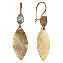 Buy Ottoman Hands 21ct Gold Plated Hammered Leaf Marquise Earrings Online at johnlewis.com
