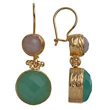 Buy Ottoman Hands Double Stone Hook Drop Earrings, Aqua Chalcedony / Rose Quartz Online at johnlewis.com