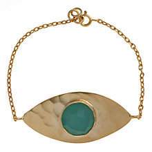 Buy Ottoman Hands 21ct Gold Plated Evil Eye Bracelet, Aqua Chalcedony Online at johnlewis.com