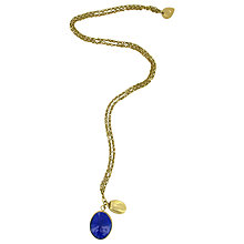 Buy Made Itumbi Glass Oval Pendant, Blue / Brass Online at johnlewis.com