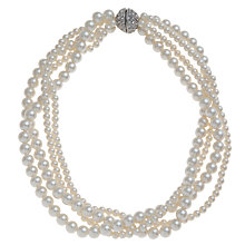 Buy John Lewis Multi Size Glass Pearl Necklace, White Online at johnlewis.com