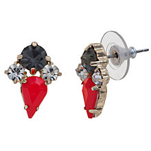 Buy COLLECTION by John Lewis Inverted Teardrop Cluster Stud Earrings, Red / Black Online at johnlewis.com