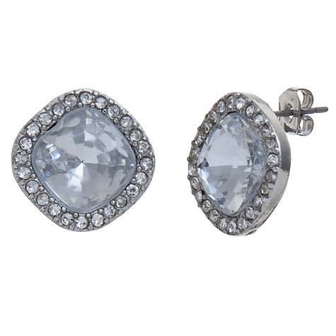 Buy John Lewis Cushion Cut Crystal Diamante Surround Stud Earrings, Silver Online at johnlewis.com