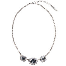 Buy John Lewis Trinity Crystal Cluster Short Necklace, Black / Silver Online at johnlewis.com