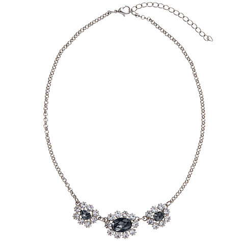 Buy John Lewis Trinity Crystal Cluster Short Statement Necklace, Black / Silver Online at johnlewis.com