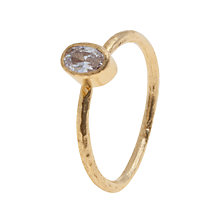 Buy Ottoman Hands 21ct Gold Plated Oval Crystal Petite Stacking Adjustable Ring, White Online at johnlewis.com