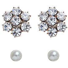 Buy John Lewis Small Crystal Flower and White Pearl Stud Pack, Silver Online at johnlewis.com