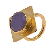Buy Ottoman Hands 21ct Gold Plated Diamond Shaped Ring, Lilac Chalcedony Online at johnlewis.com