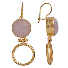 Buy Ottoman Hands 21ct Gold Plated Stone Drop Hoop Earrings Online at johnlewis.com