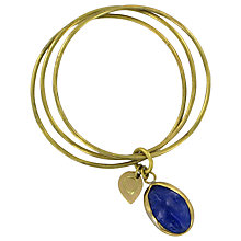 Buy Made Kioo Glass Oval Triple Bangle, Brass / Blue Online at johnlewis.com