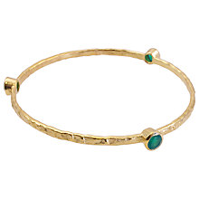 Buy Azuni 18ct Gold Plated Textured Stack Bangle, Green Onyx Online at johnlewis.com