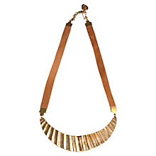 Buy Made Mitau Kyuma Bar Leather Necklace, Brass Online at johnlewis.com