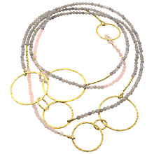 Buy Azuni 18ct Gold Plated Mixed Stone Hoop Necklace, Pink / Grey Online at johnlewis.com