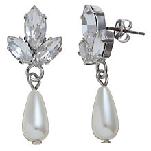 Buy John Lewis Fan Drop Pearl Stud Drop Earrings, Silver Online at johnlewis.com