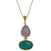 Buy Ottoman Hands 21ct Gold Plated Mix Drop Pendant, Rose Quartz / Aqua Chaclcedony Online at johnlewis.com