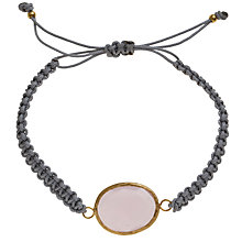 Buy Ottoman Hands 21ct Gold Plated Knotted Silk Bracelet, Rose Quartz Online at johnlewis.com