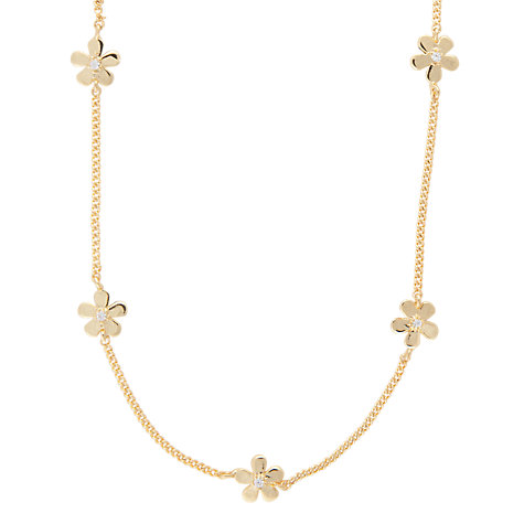 Buy Joma Daisy Chain Cubic Zirconia Necklace, Gold Online at johnlewis.com