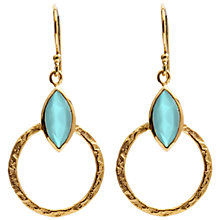 Buy Azuni 18ct Gold Plated Small Hoop Drop Earrings, Aqua Jade Online at johnlewis.com