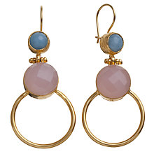 Buy Ottoman Hands Two Stone Large Hoop Earrings, Rose Quartz / Blue Chalcedony Online at johnlewis.com