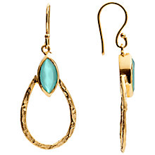 Buy Azuni 18ct Gold Plated Small Teardrop Hoop Earrings, Aqua Jade Online at johnlewis.com