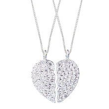 Buy Joma BFF Cubic Zirconia Set Silver Love Heart Necklace, Silver Online at johnlewis.com