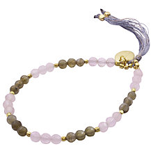Buy Azuni 18ct Gold Plated Mixed Stone Tasseled Bracelet, Pink Chalcedony / Smoky Quartz Online at johnlewis.com