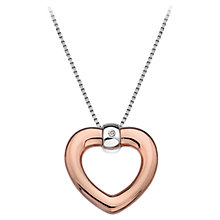 Buy Hot Diamonds Open Heart Pendant, Rose Gold Online at johnlewis.com