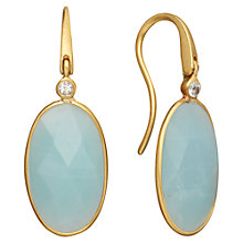Buy Astley Clarke Colour 18ct Gold Vermeil Long Oval Hook Earrings, Amazonite Online at johnlewis.com