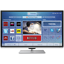 "Buy Toshiba 40L7355 LED HD 1080p 3D Smart TV, 40"" with Freeview HD, 2x 3D Glasses with FREE Sound Bar Online at johnlewis.com"