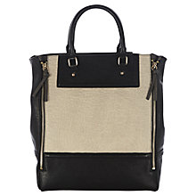 Buy Warehouse Colour Block Zip Tote, Black Online at johnlewis.com