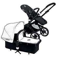 Buy Bugaboo Buffalo Black Pushchair Base and Carrycot bundle with Grey Malange tailored fabric Online at johnlewis.com